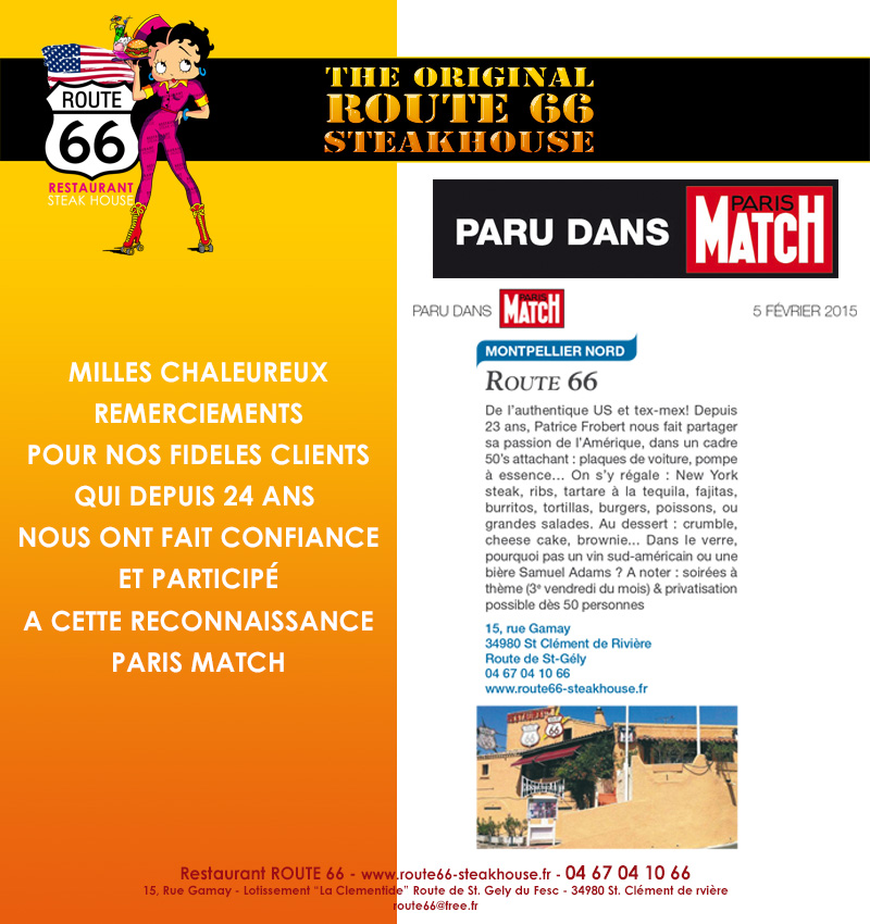 Restaurant Route 66 dans Paris Match
