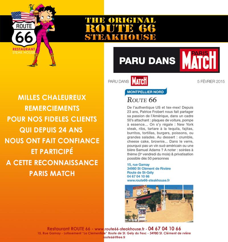 Restaurant Route 66 dans Paris Match